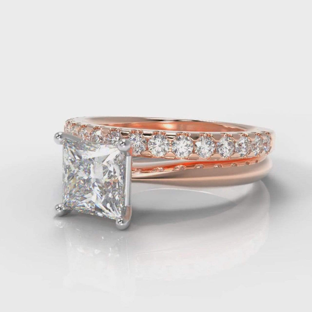 Classic Solitaire Princess Cut Lab Diamond Bridal Ring Set - Rose Gold-Ring Setting-Pure Carats-Pure Carats