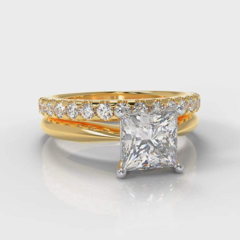 Classic Solitaire Princess Cut Lab Diamond Bridal Ring Set - Yellow Gold