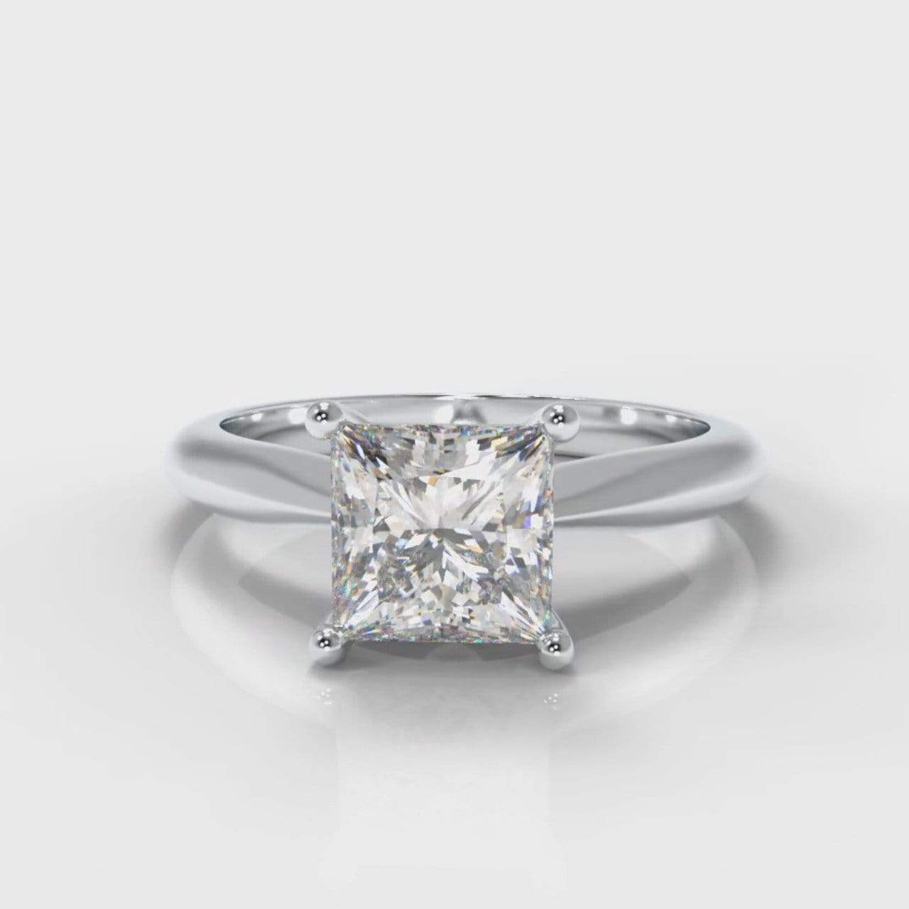 Classic Solitaire Princess Cut Lab Diamond Engagement Ring-Ring Setting-Pure Carats-Pure Carats