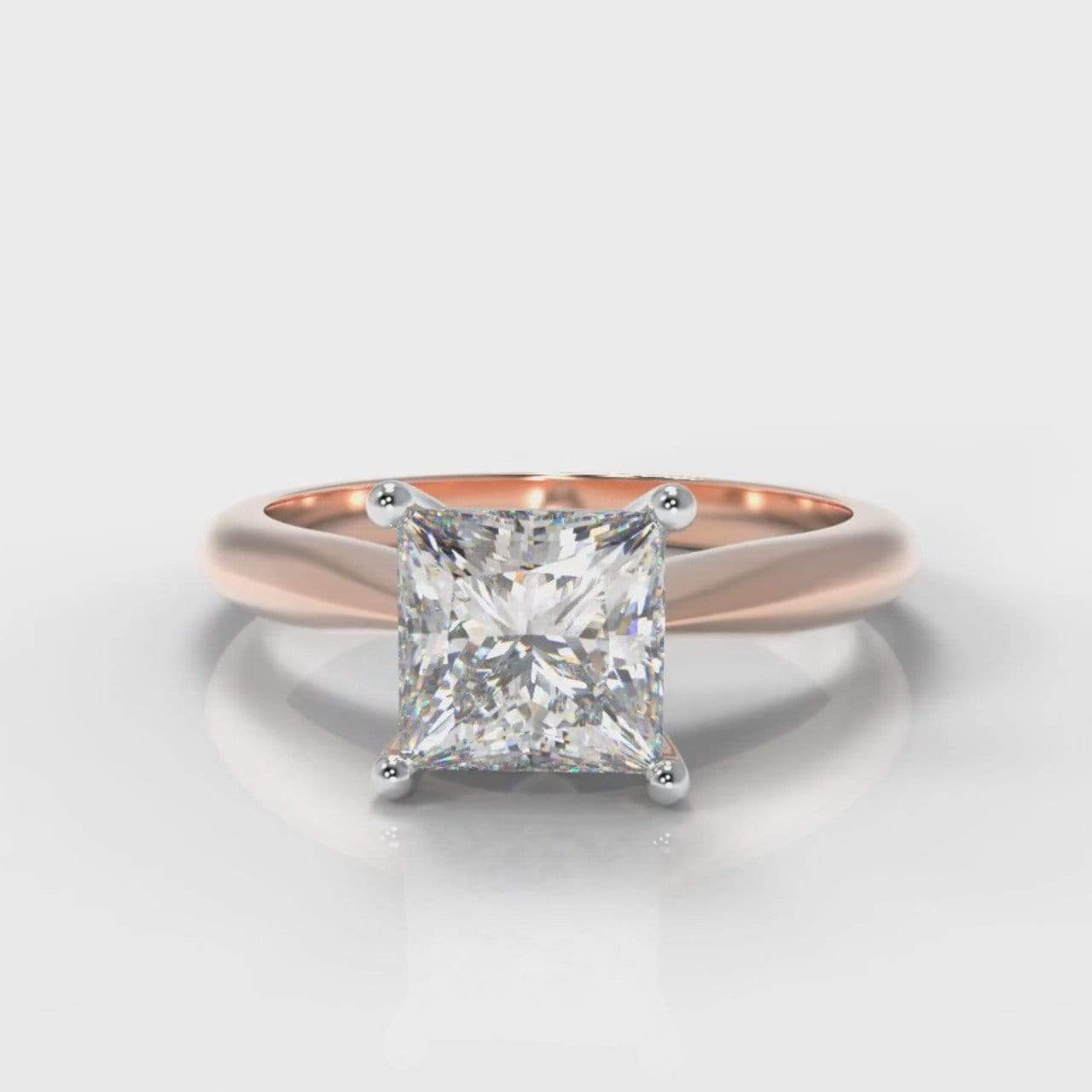 Classic Solitaire Princess Cut Lab Diamond Engagement Ring - Rose Gold-Ring Setting-Pure Carats-Pure Carats