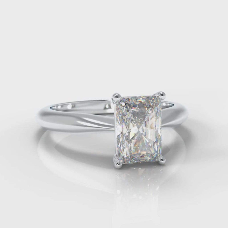 Classic Solitaire Radiant Cut Lab Diamond Engagement Ring-Ring Setting-Pure Carats-Pure Carats