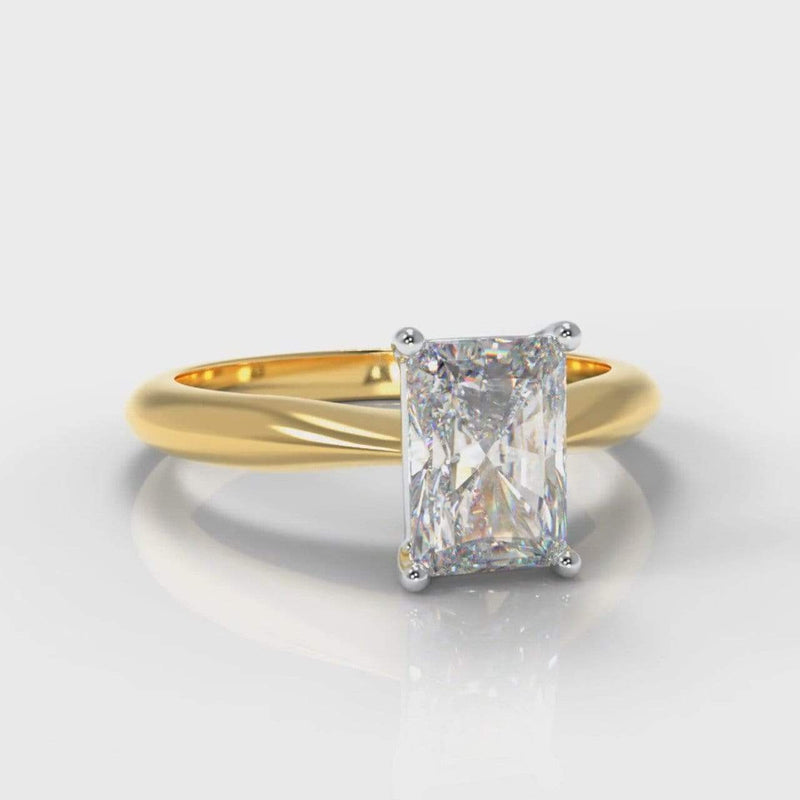 Classic Solitaire Radiant Cut Lab Diamond Engagement Ring - Yellow Gold-Ring Setting-Pure Carats-Pure Carats