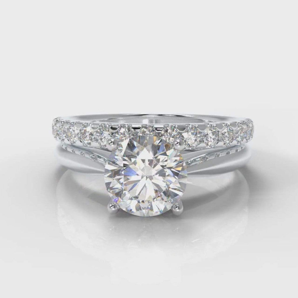 Classic Solitaire Round Brilliant Cut Lab Diamond Bridal Ring Set-Ring Setting-Pure Carats-Pure Carats