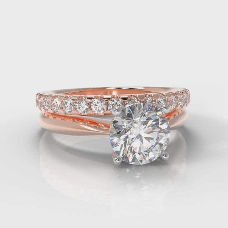 Classic Solitaire Round Brilliant Cut Lab Diamond Bridal Ring Set - Rose Gold-Ring Setting-Pure Carats-Pure Carats