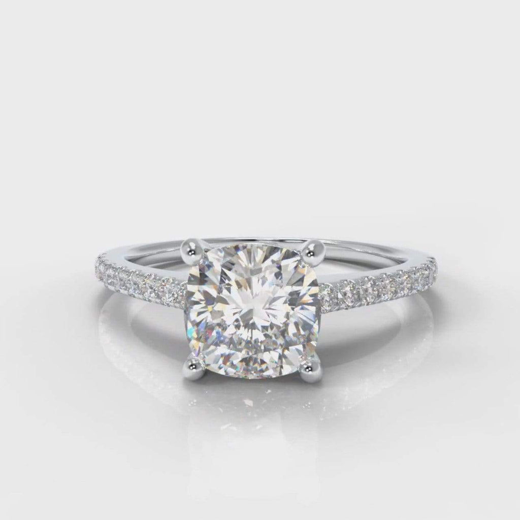 Fine Castle Cushion Cut Lab Diamond Engagement Ring-Ring Setting-Pure Carats-Pure Carats