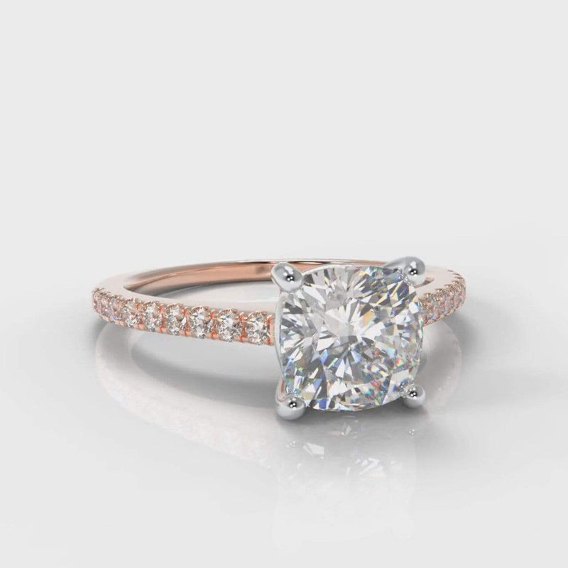 Fine Castle Cushion Cut Lab Diamond Engagement Ring - Rose Gold-Ring Setting-Pure Carats-Pure Carats