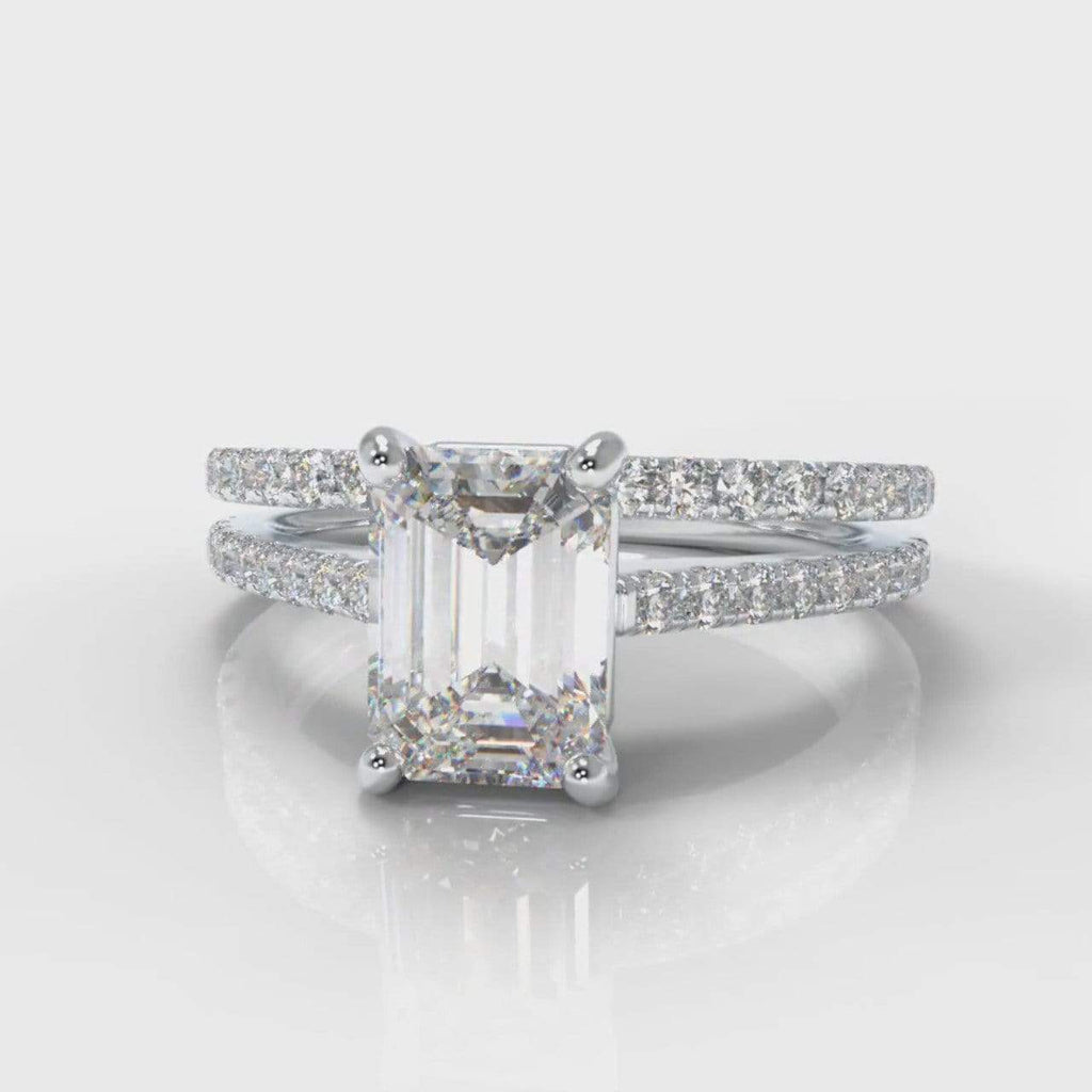 Fine Castle Emerald Cut Lab Diamond Bridal Ring Set-Ring Setting-Pure Carats-Pure Carats