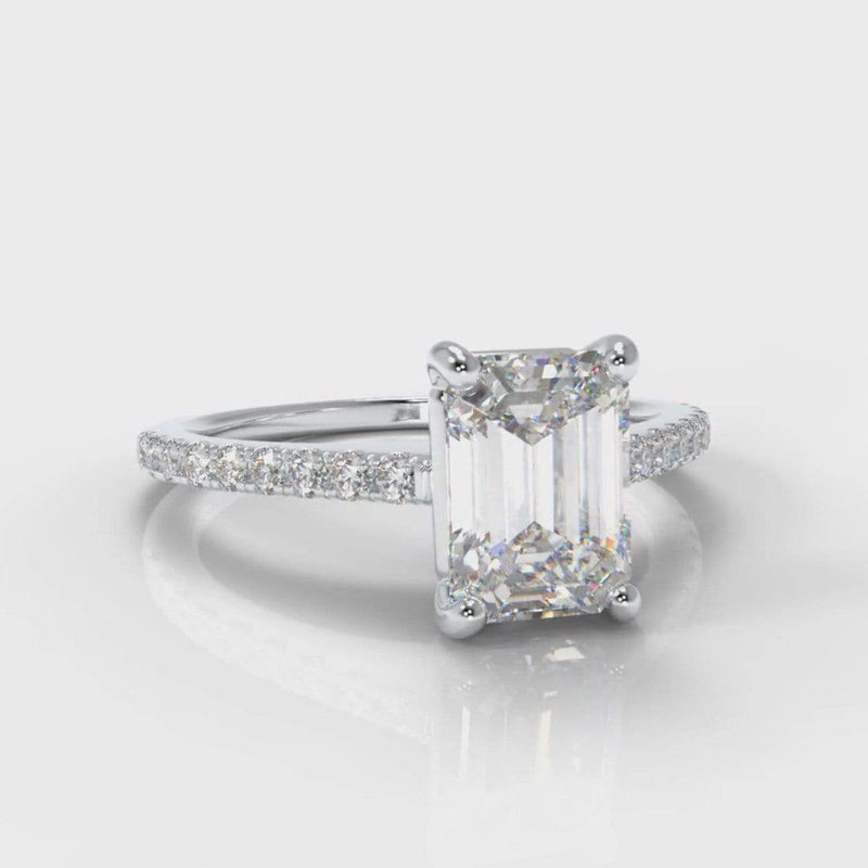 Fine Castle Emerald Cut Lab Diamond Engagement Ring-Ring Setting-Pure Carats-Pure Carats