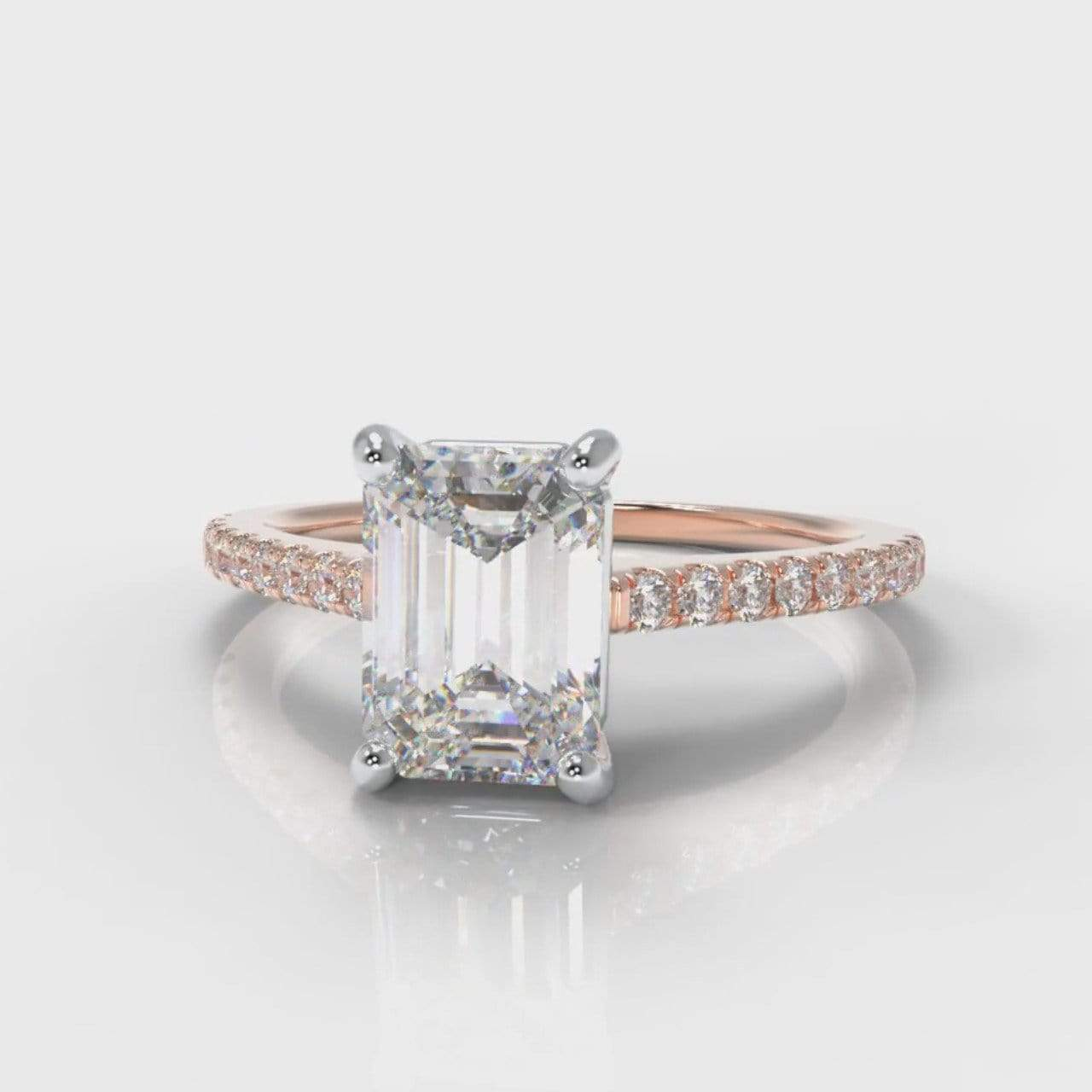 Fine Castle Emerald Cut Lab Diamond Engagement Ring - Rose Gold-Ring Setting-Pure Carats-Pure Carats