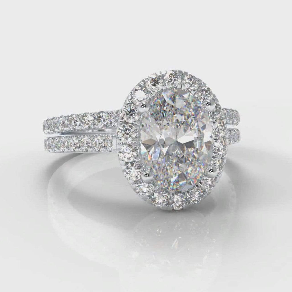 Fine Castle Halo Oval Lab Diamond Bridal Ring Set-Ring Setting-Pure Carats-Pure Carats
