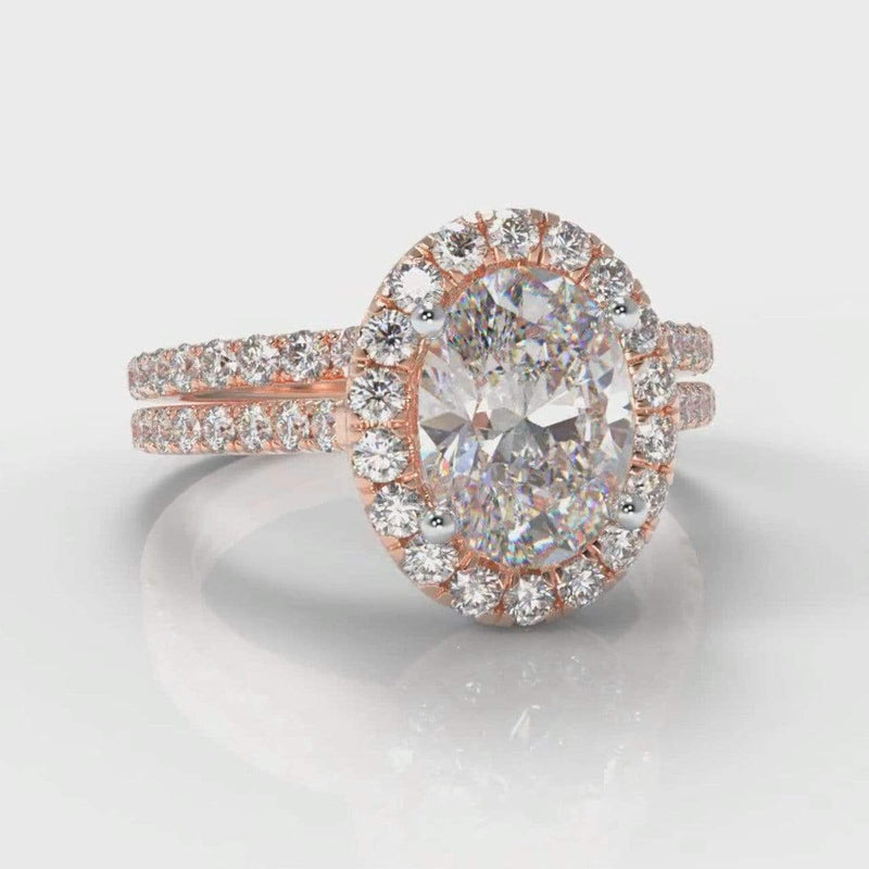 Fine Castle Halo Oval Lab Diamond Bridal Ring Set - Rose Gold-Ring Setting-Pure Carats-Pure Carats