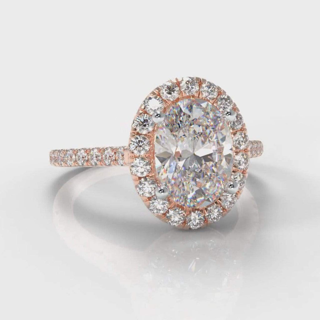 Fine Castle Halo Oval Lab Diamond Engagement Ring - Rose Gold-Ring Setting-Pure Carats-Pure Carats