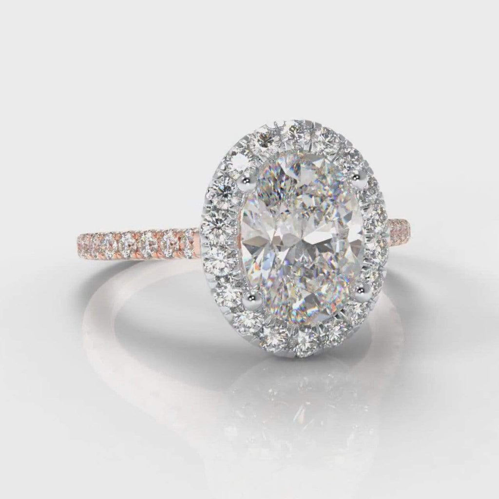 Fine Castle Halo Oval Lab Diamond Engagement Ring - Two Tone Rose Gold-Ring Setting-Pure Carats-Pure Carats