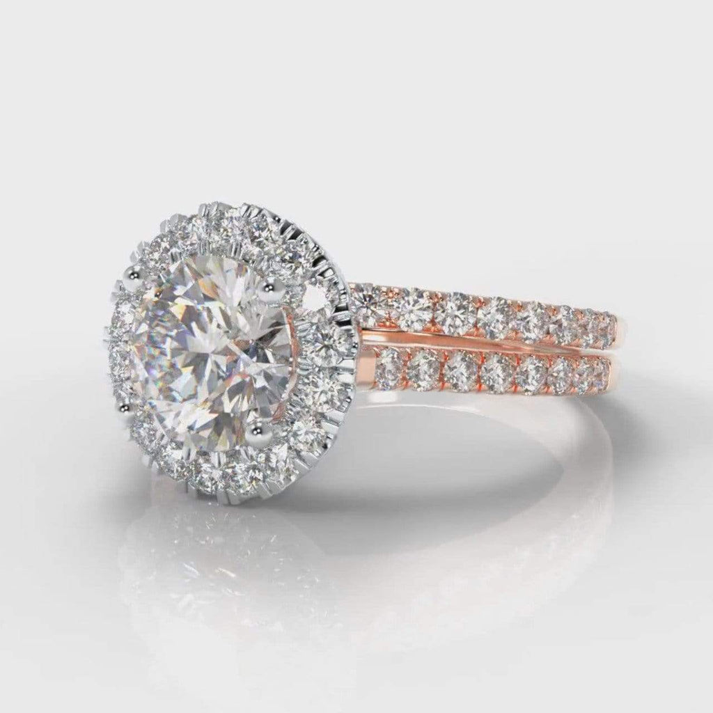 Fine Castle Halo Round Brilliant Cut Diamond Bridal Ring Set - Two Tone Rose Gold-Ring Setting-Pure Carats-Pure Carats