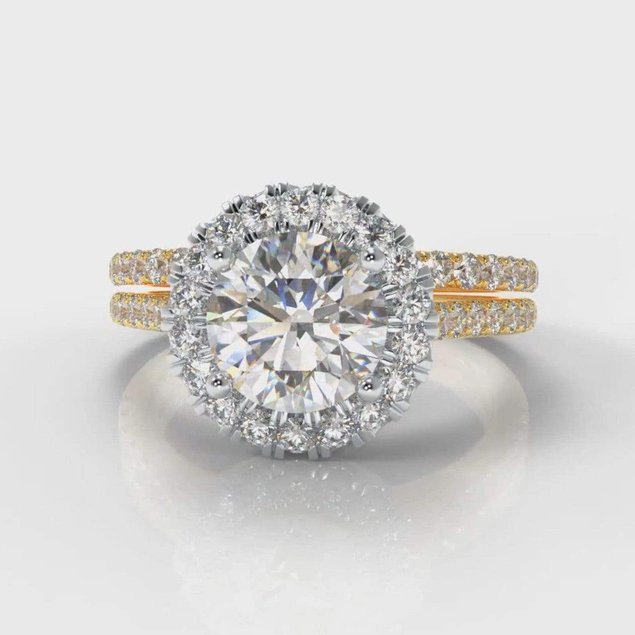 Fine Castle Halo Round Brilliant Cut Diamond Bridal Ring Set - Two Tone Yellow Gold-Ring Setting-Pure Carats-Pure Carats
