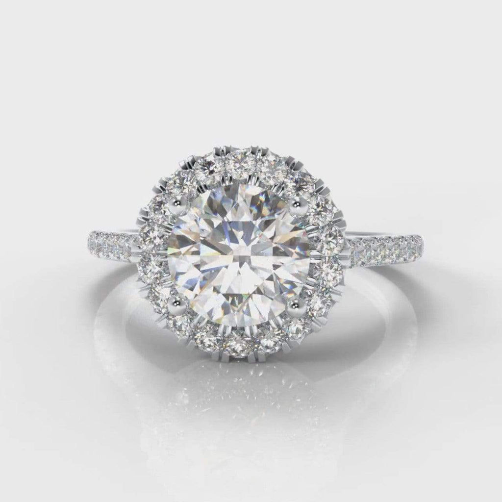 Fine Castle Halo Round Brilliant Cut Lab Diamond Engagement Ring-Ring Setting-Pure Carats-Pure Carats