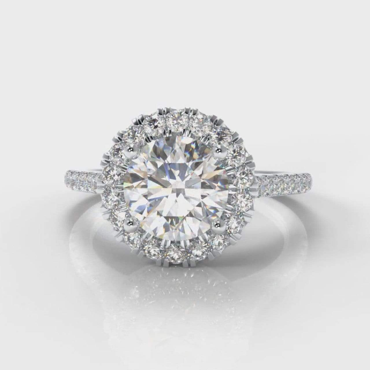 Fine Castle Halo Round Brilliant Cut Lab Diamond Engagement Ring