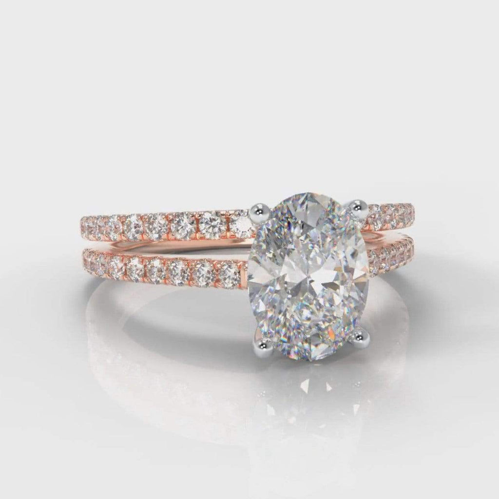 Fine Castle Oval Lab Diamond Bridal Ring Set - Rose Gold-Ring Setting-Pure Carats-Pure Carats