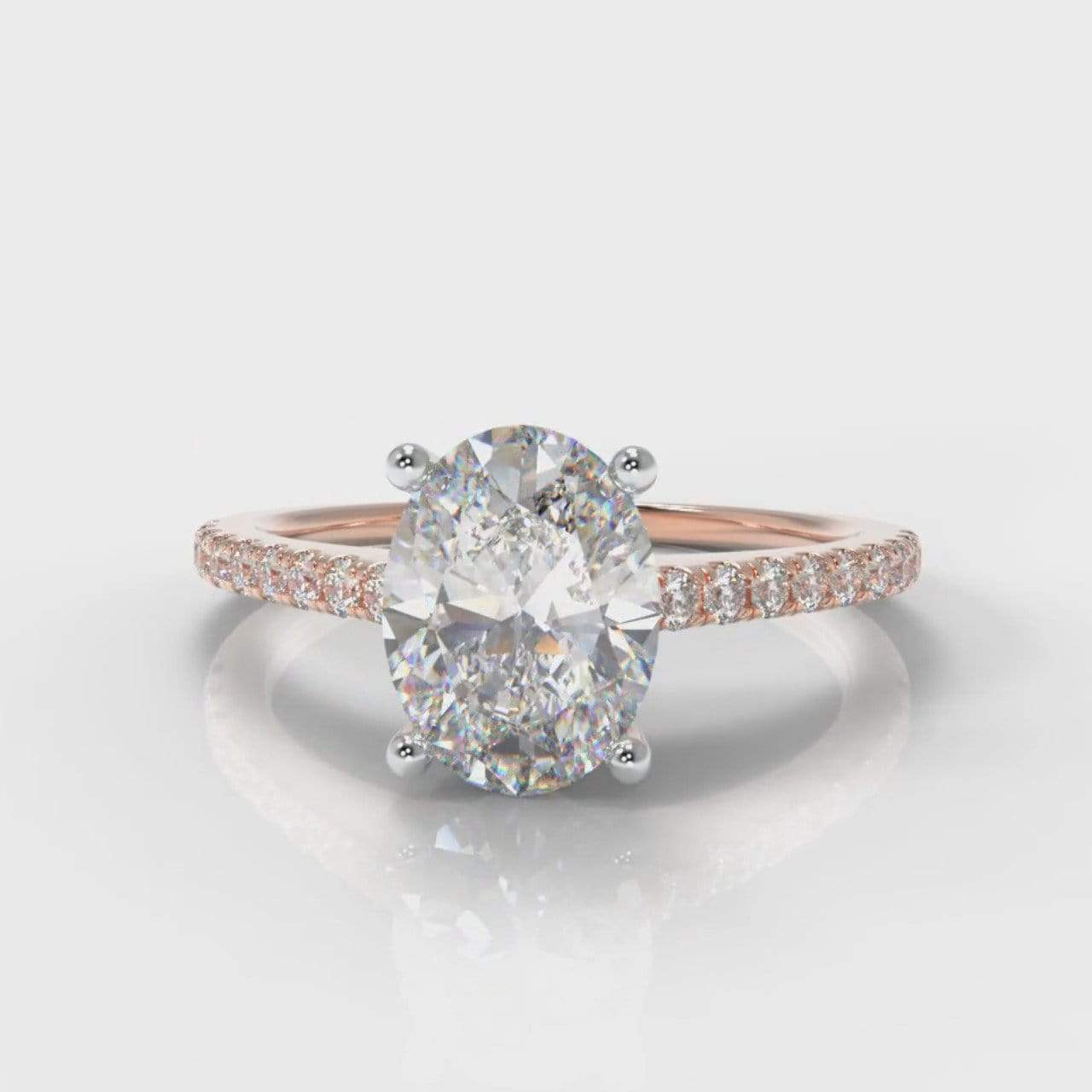 Fine Castle Oval Lab Diamond Engagement Ring - Rose Gold-Ring Setting-Pure Carats-Pure Carats