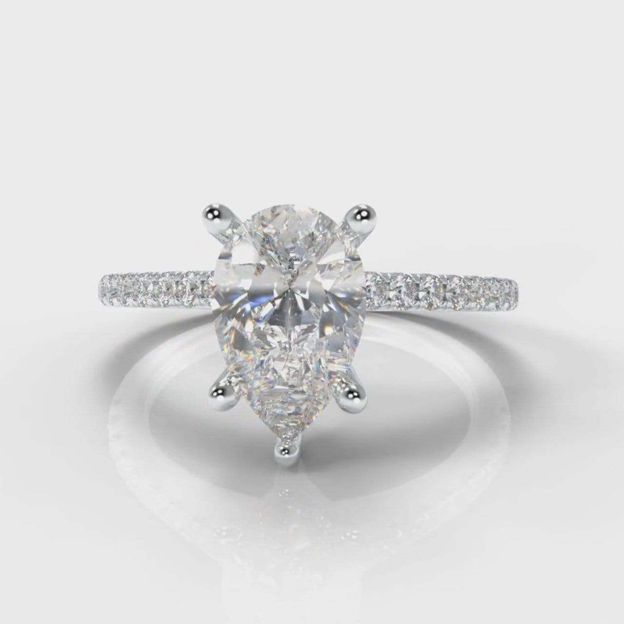 Fine Castle Pear Shaped Lab Diamond Engagement Ring-Ring Setting-Pure Carats-Pure Carats