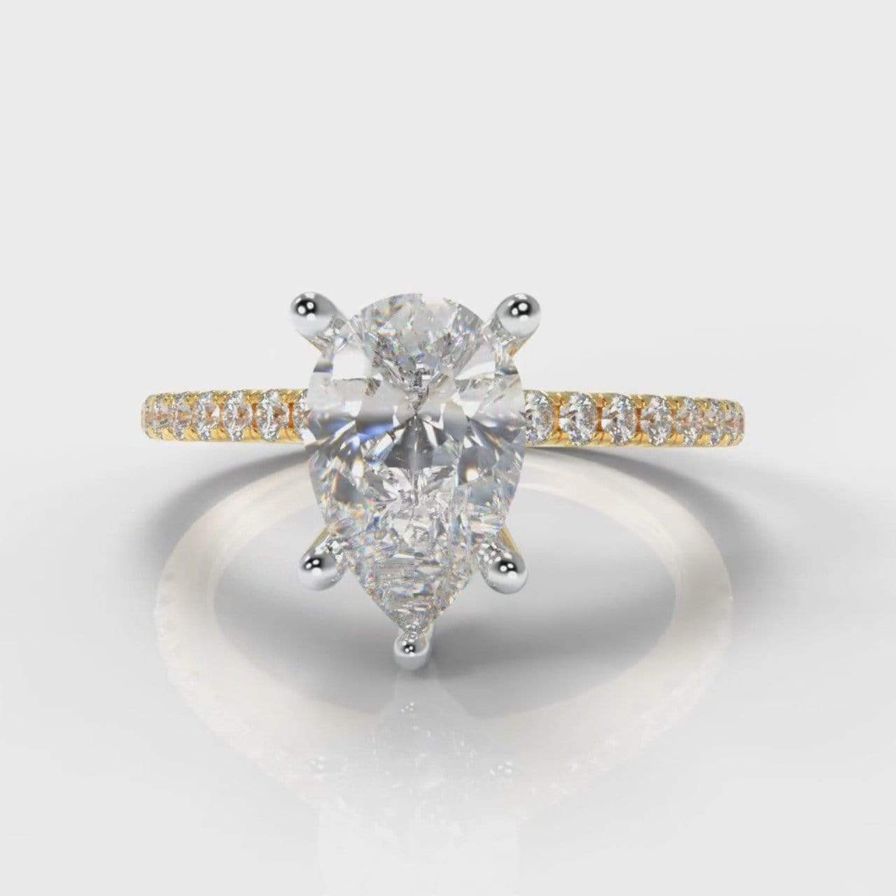 Fine Castle Pear Shaped Lab Diamond Engagement Ring - Yellow Gold-Ring Setting-Pure Carats-Pure Carats
