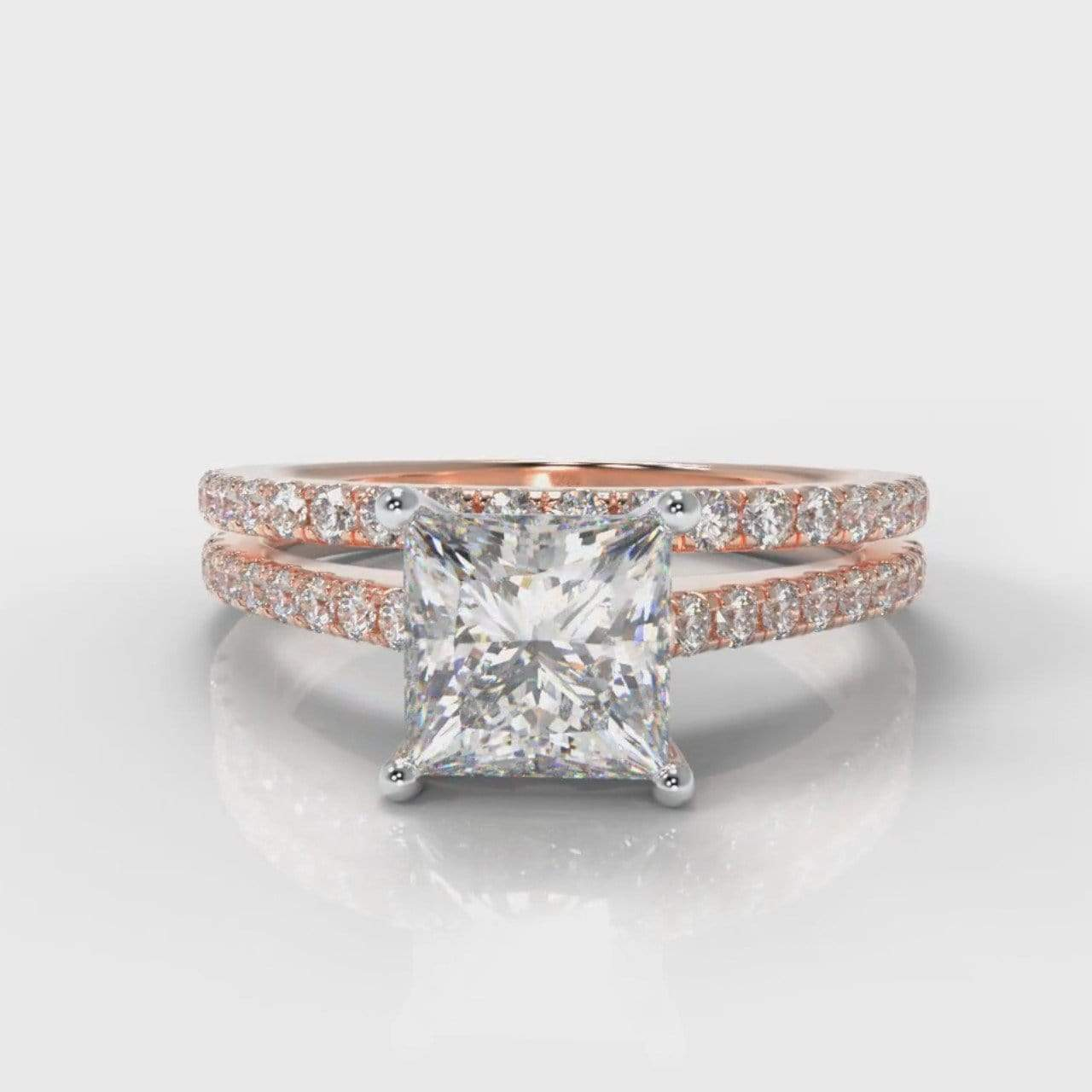 Fine Castle Princess Cut Lab Diamond Bridal Ring Set - Rose Gold-Ring Setting-Pure Carats-Pure Carats