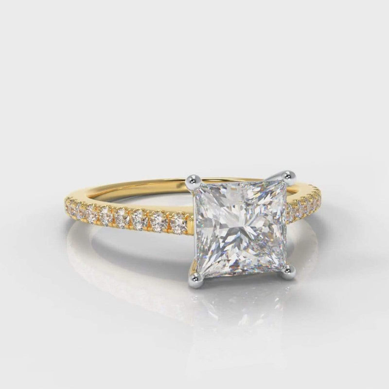 Fine Castle Princess Cut Lab Diamond Engagement Ring - Yellow Gold-Ring Setting-Pure Carats-Pure Carats