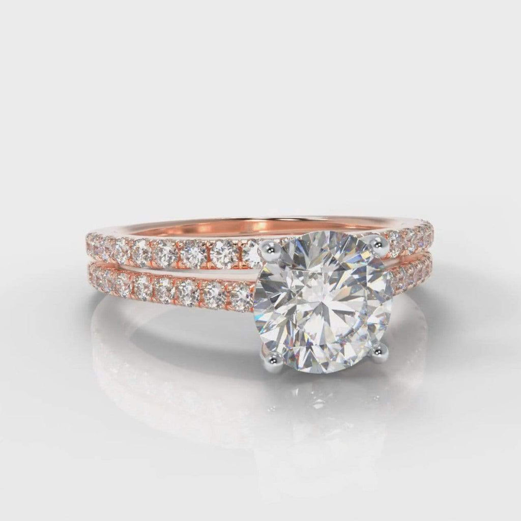 Fine Castle Round Brilliant Cut Lab Diamond Bridal Ring Set - Rose Gold-Ring Setting-Pure Carats-Pure Carats