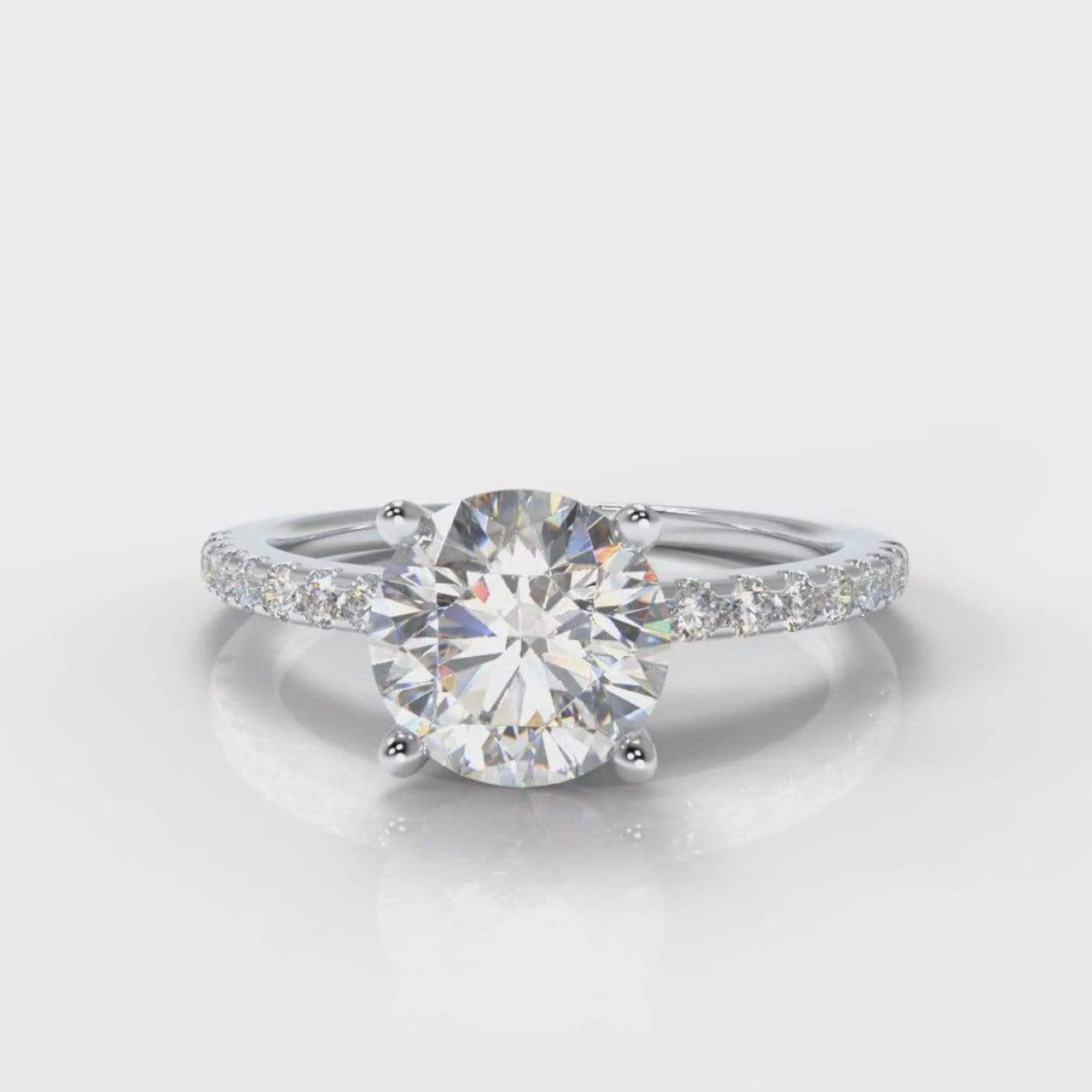 Fine Castle Round Brilliant Cut Lab Diamond Engagement Ring-Ring Setting-Pure Carats-Pure Carats
