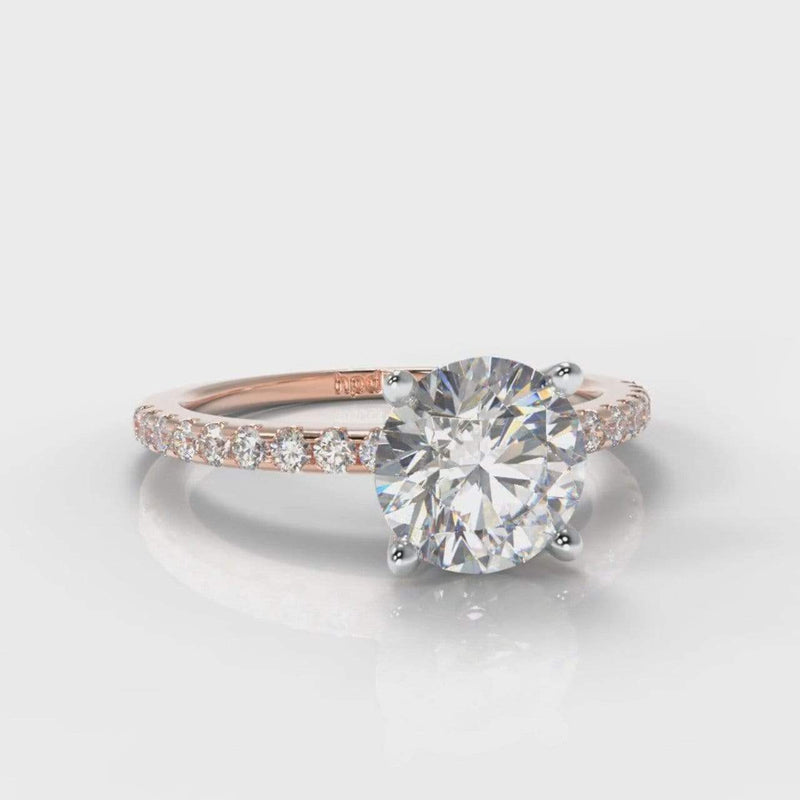 Fine Castle Round Brilliant Cut Lab Diamond Engagement Ring - Rose Gold-Ring Setting-Pure Carats-Pure Carats