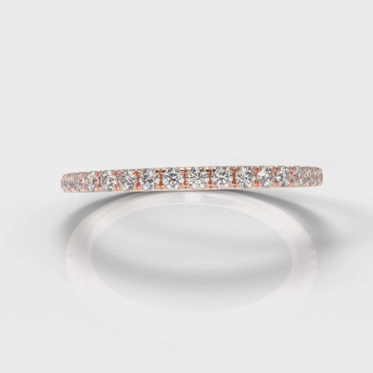 Fine Castle Set Lab Diamond Wedding Band - Rose Gold-Wedding Ring-Pure Carats-Pure Carats