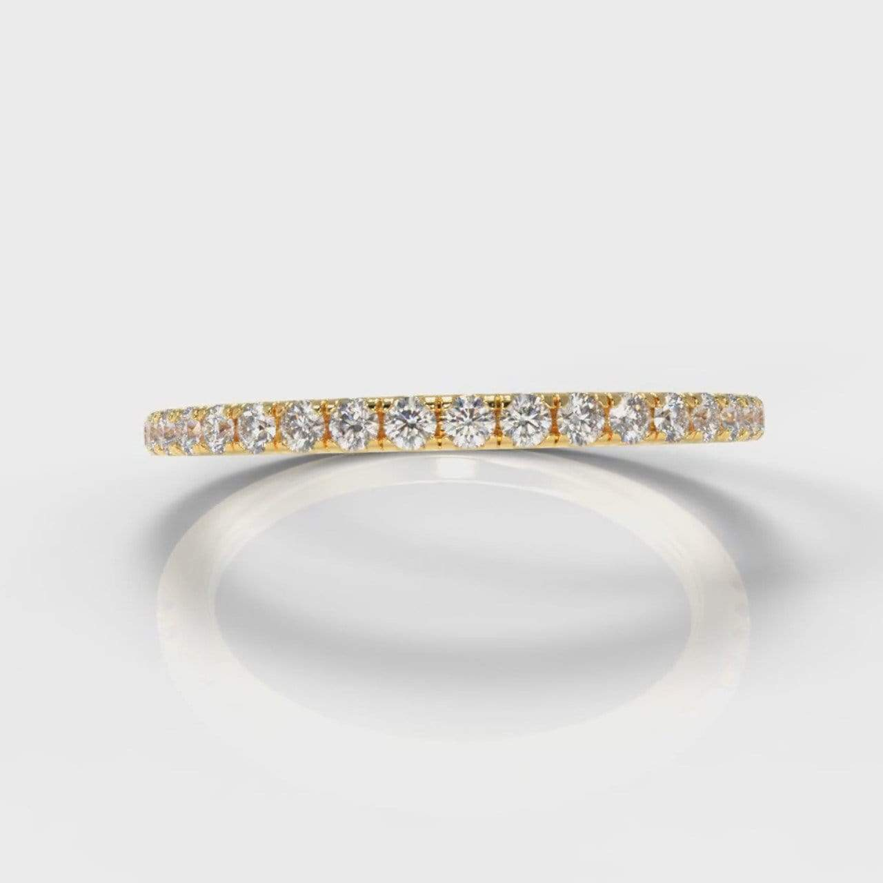 Fine Castle Set Lab Diamond Wedding Band - Yellow Gold-Wedding Ring-Pure Carats-Pure Carats