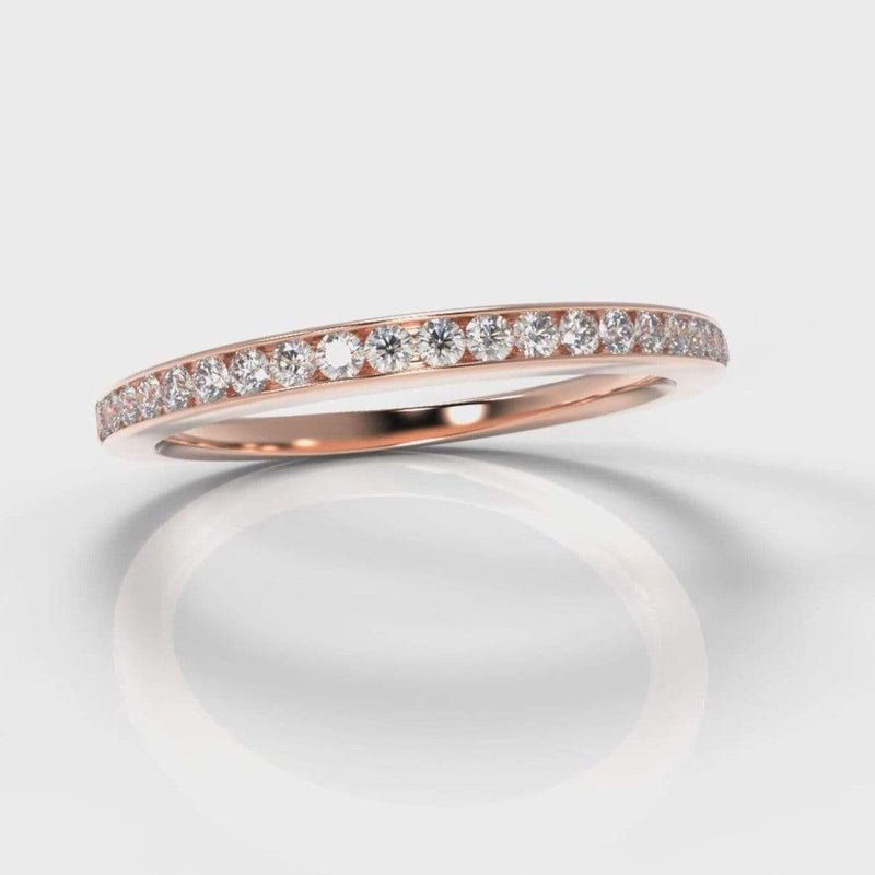 Fine Channel Set Lab Diamond Wedding Band - Rose Gold-Wedding Ring-Pure Carats-Pure Carats