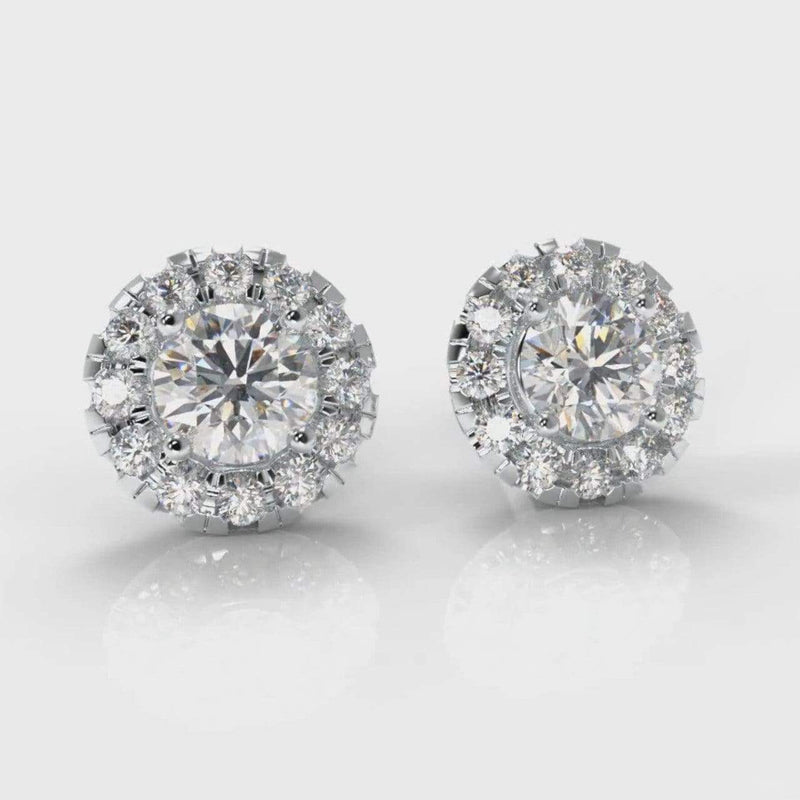 Halo Lab Grown Diamond Stud Earrings-Earrings-Pure Carats-Pure Carats