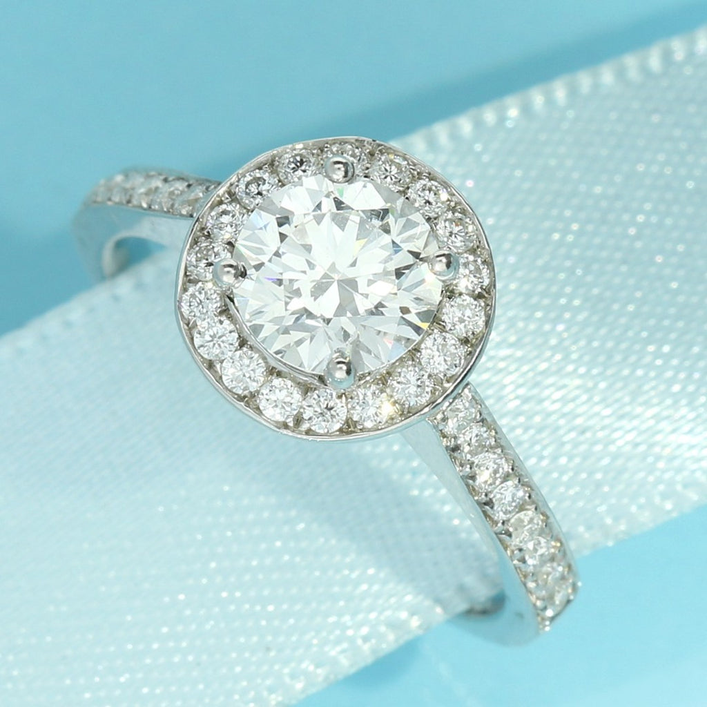 Pavé Halo Round Brilliant Cut Lab Diamond Engagement Ring