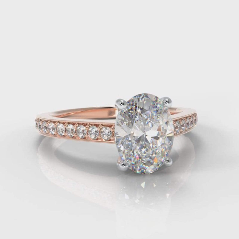 Pavé Accent Oval Lab Diamond Engagement Ring - Rose Gold-Ring Setting-Pure Carats-Pure Carats