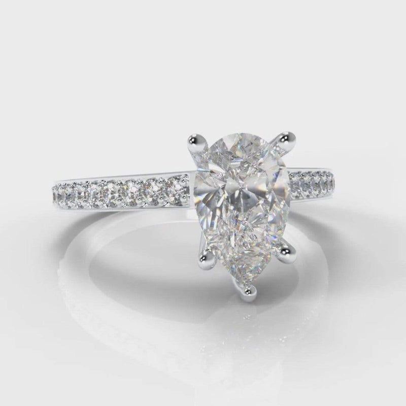 Pavé Accent Pear Shaped Lab Diamond Engagement Ring-Ring Setting-Pure Carats-Pure Carats