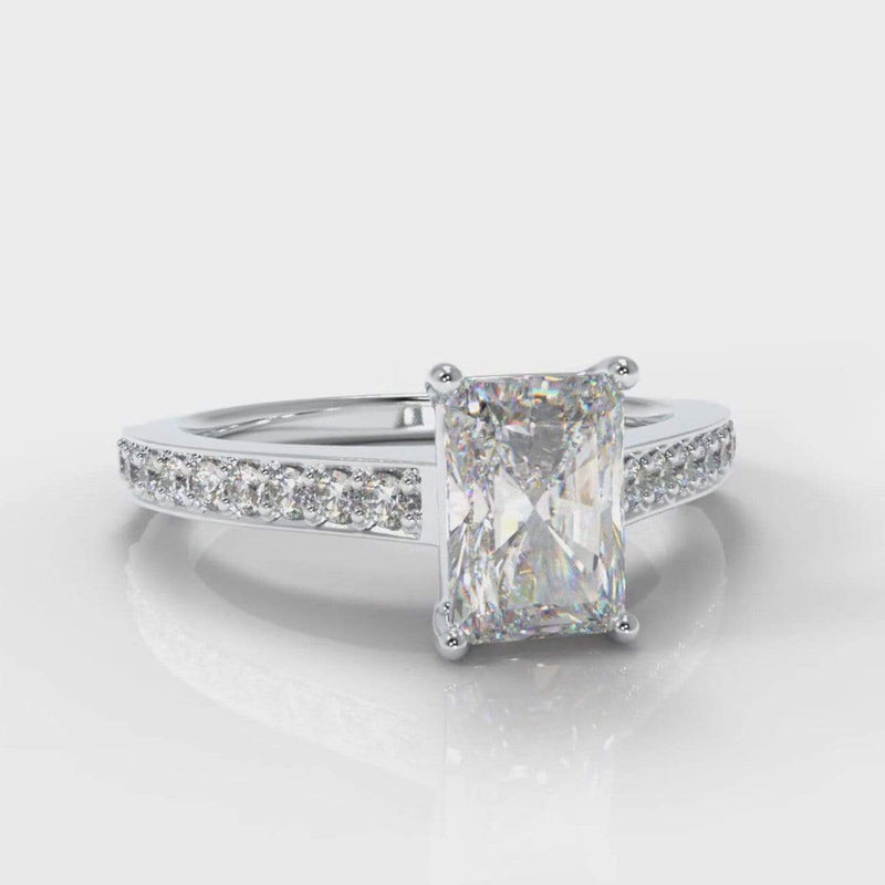 Pavé Accent Radiant Cut Lab Diamond Engagement Ring-Ring Setting-Pure Carats-Pure Carats