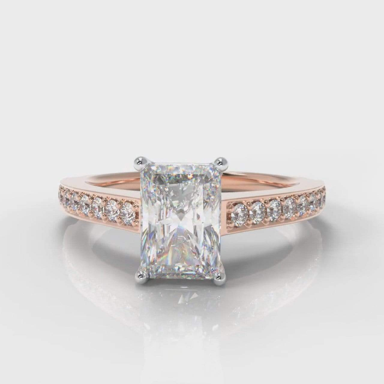 Pavé Accent Radiant Cut Lab Diamond Engagement Ring - Rose Gold-Ring Setting-Pure Carats-Pure Carats