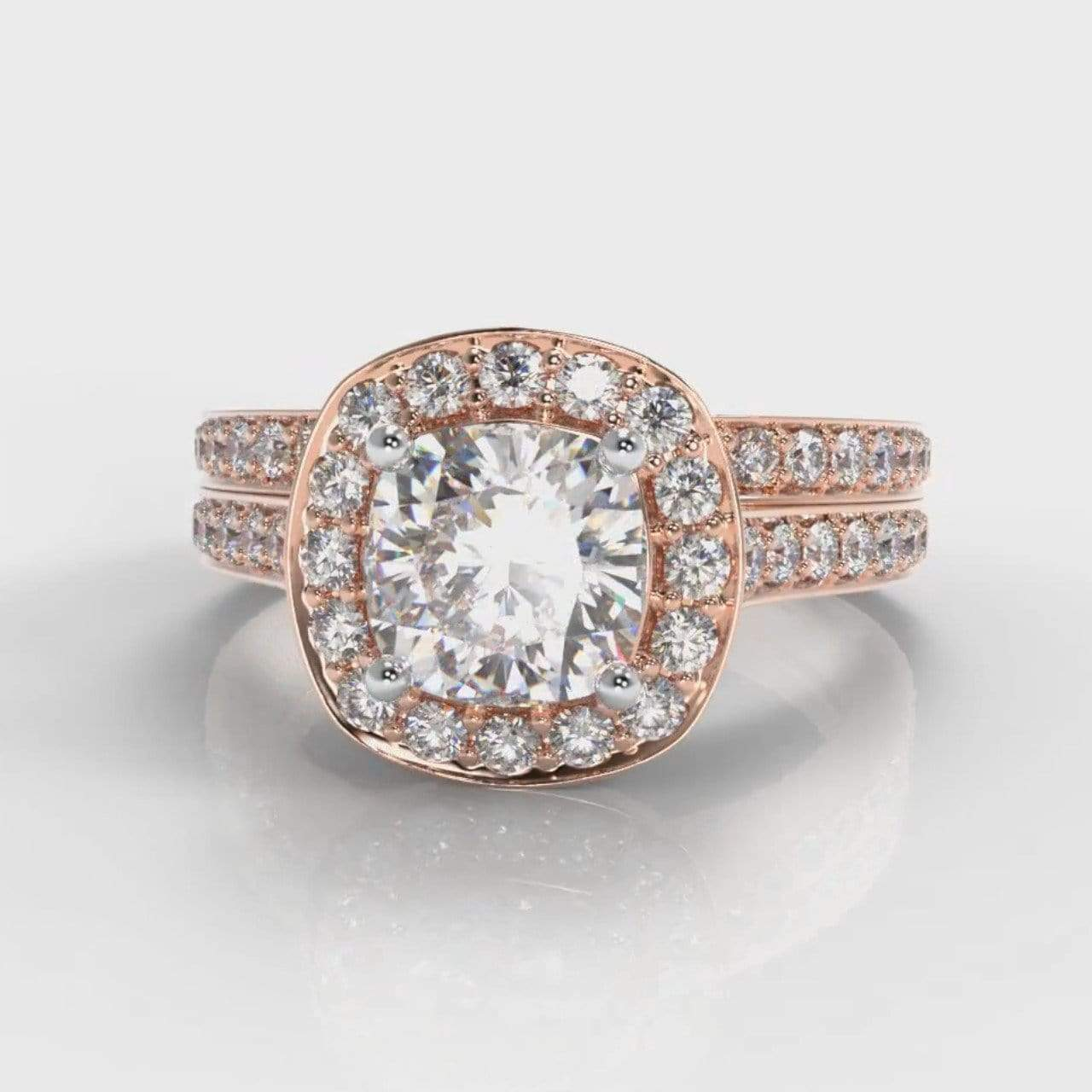 Pavé Halo Cushion Cut Lab Diamond Bridal Ring Set - Rose Gold-Ring Setting-Pure Carats-Pure Carats