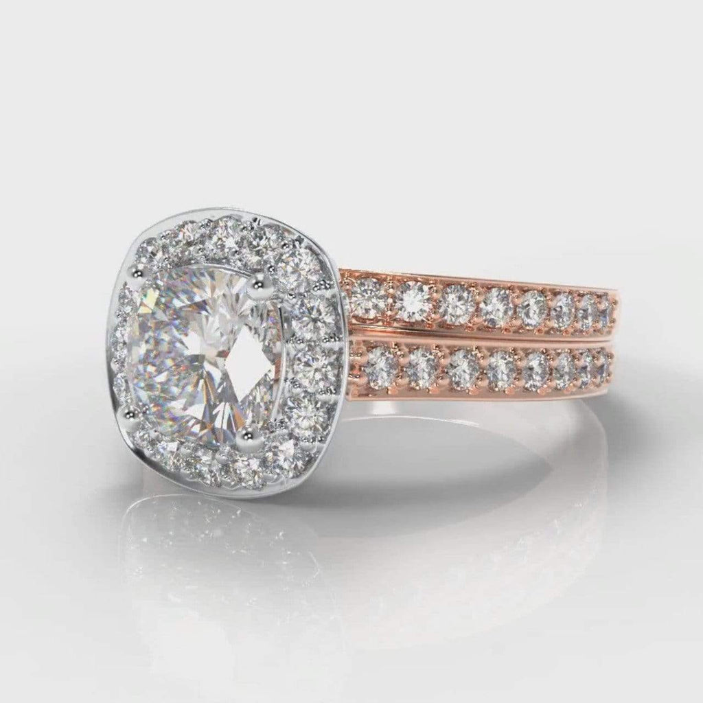 Pavé Halo Cushion Cut Lab Diamond Bridal Ring Set - Two Tone Rose Gold-Ring Setting-Pure Carats-Pure Carats