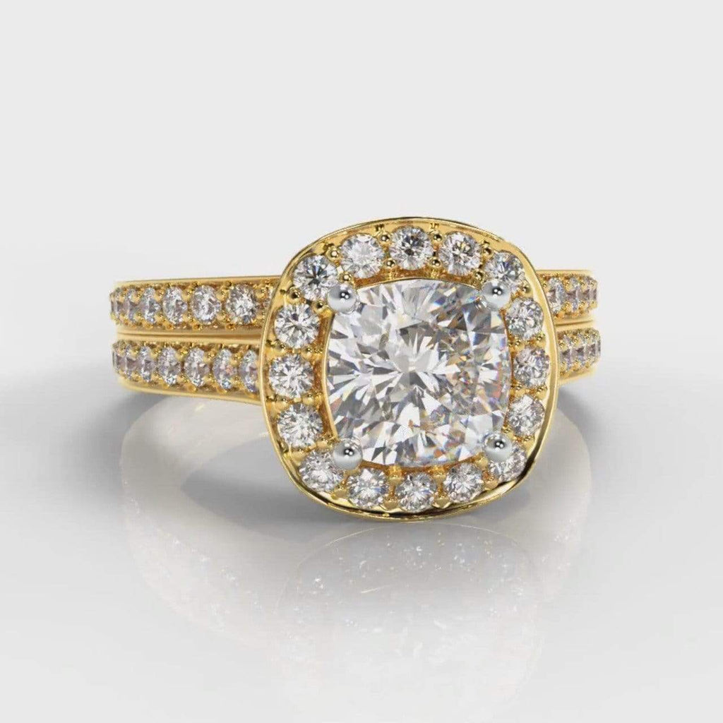 Pavé Halo Cushion Cut Lab Diamond Bridal Ring Set - Yellow Gold-Ring Setting-Pure Carats-Pure Carats
