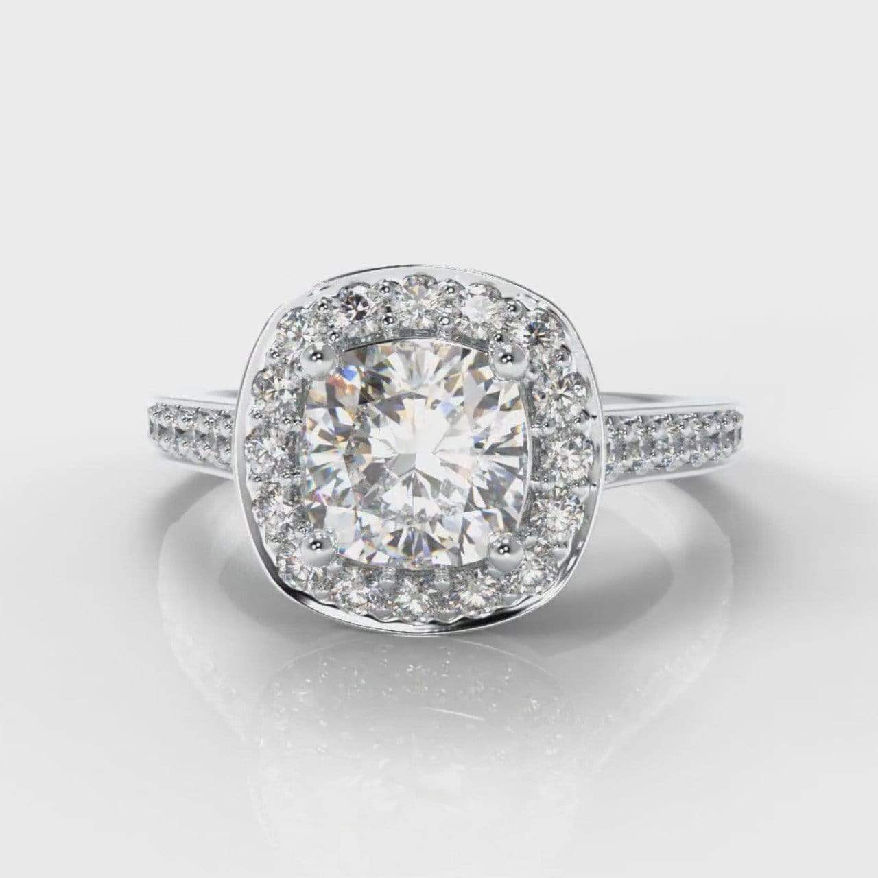 Pavé Halo Cushion Cut Lab Diamond Engagement Ring-Ring Setting-Pure Carats-Pure Carats