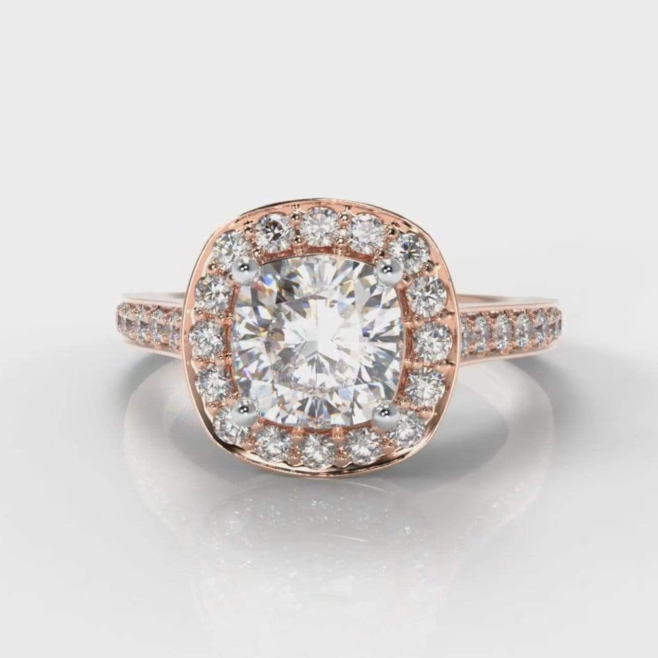 Pavé Halo Cushion Cut Lab Diamond Engagement Ring - Rose Gold-Ring Setting-Pure Carats-Pure Carats