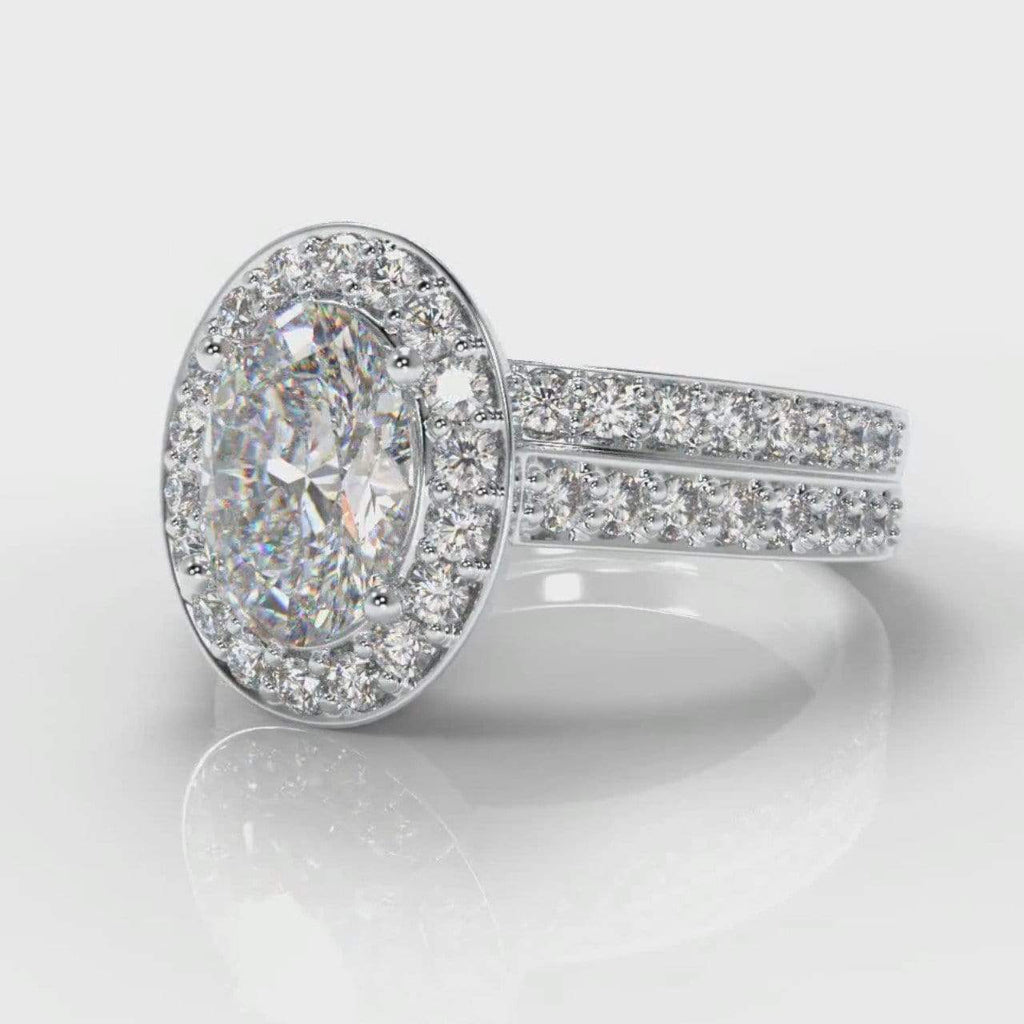 Pavé Halo Oval Lab Diamond Bridal Ring Set-Ring Setting-Pure Carats-Pure Carats