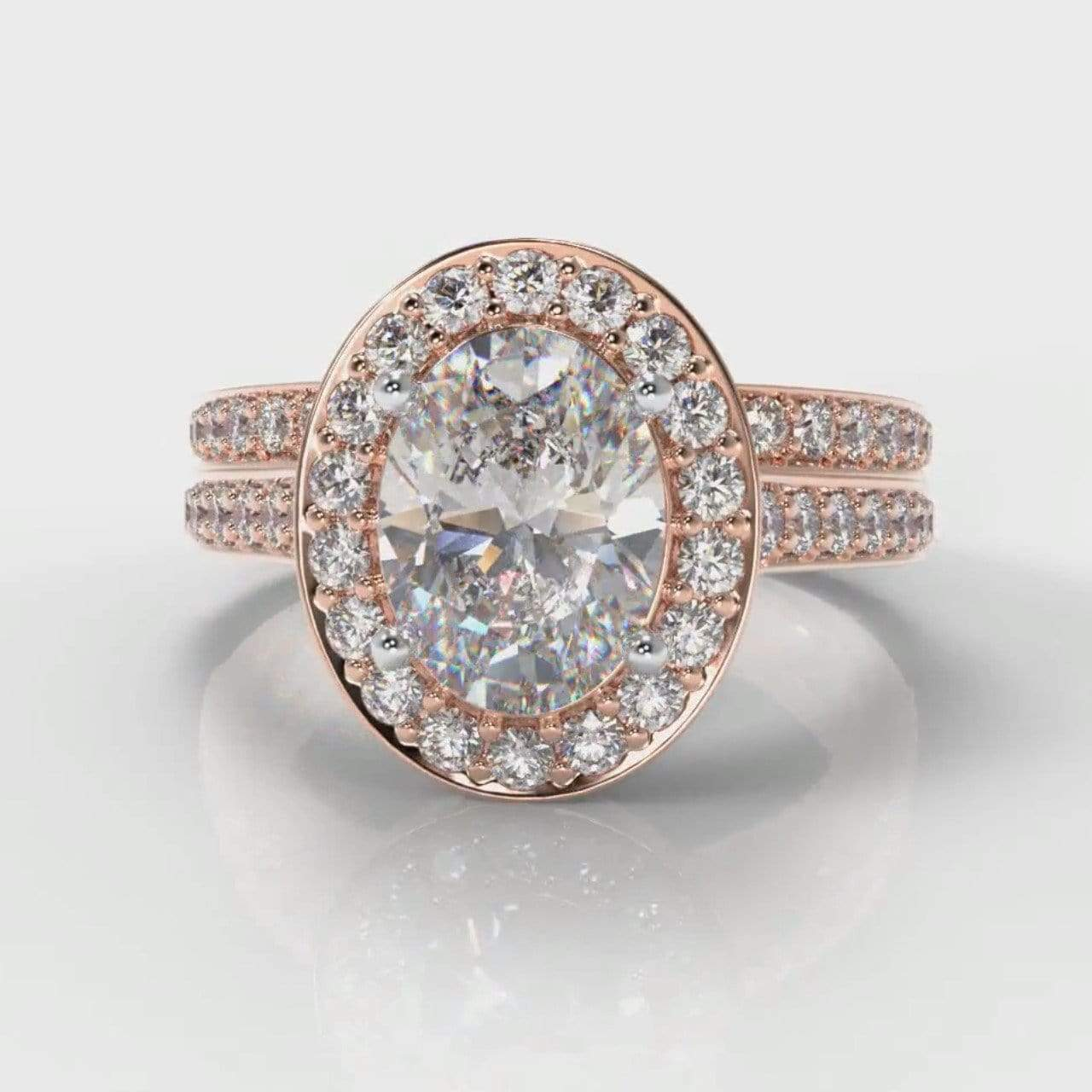 Pavé Halo Oval Lab Diamond Bridal Ring Set - Rose Gold-Ring Setting-Pure Carats-Pure Carats