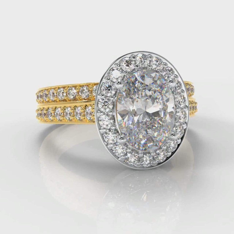 Pavé Halo Oval Lab Diamond Bridal Ring Set - Two Tone Yellow Gold