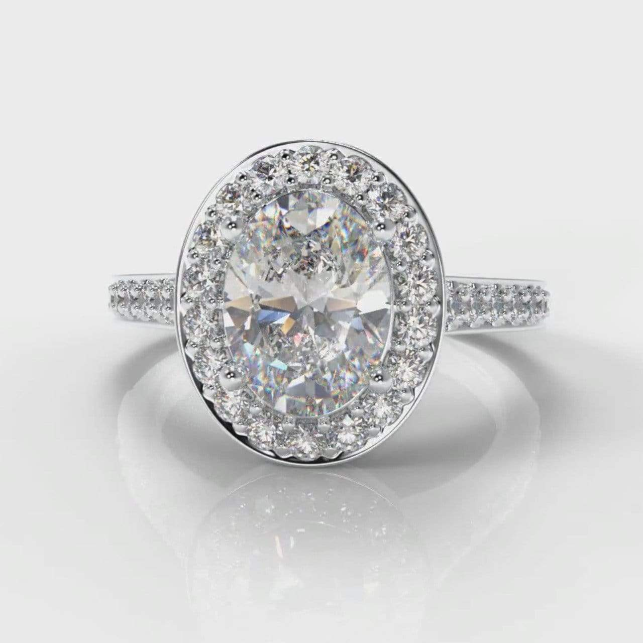 Pavé Halo Oval Lab Diamond Engagement Ring