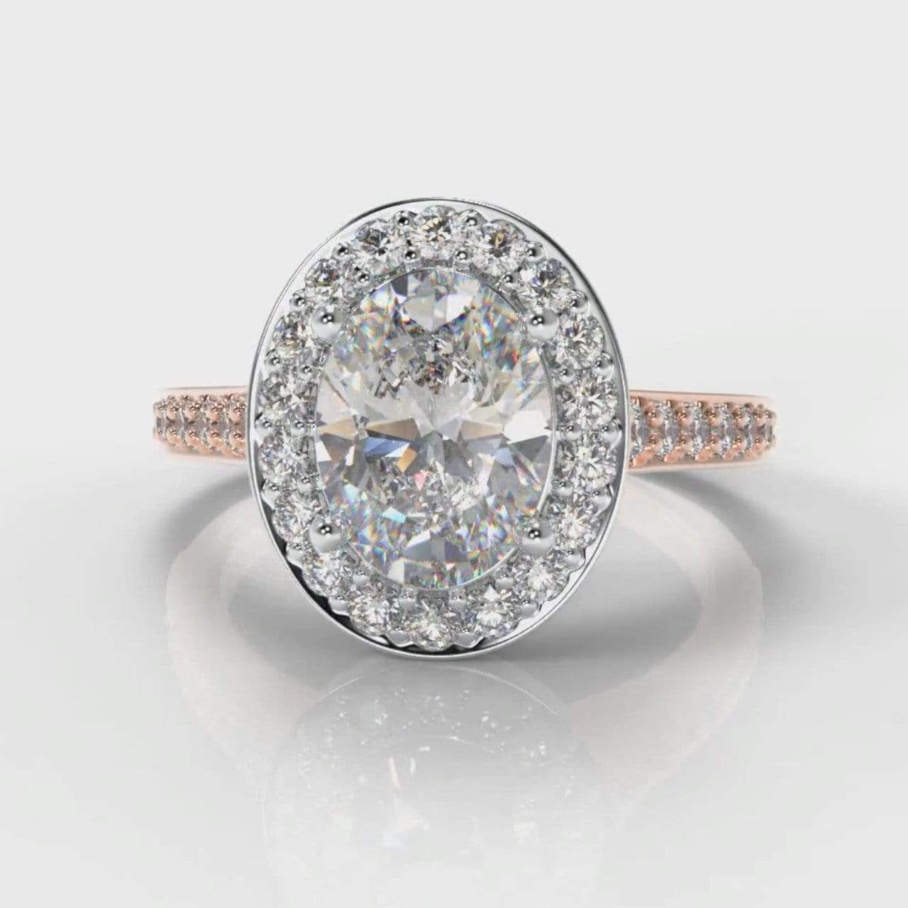 Pavé Halo Oval Lab Diamond Engagement Ring - Two Tone Rose Gold-Ring Setting-Pure Carats-Pure Carats