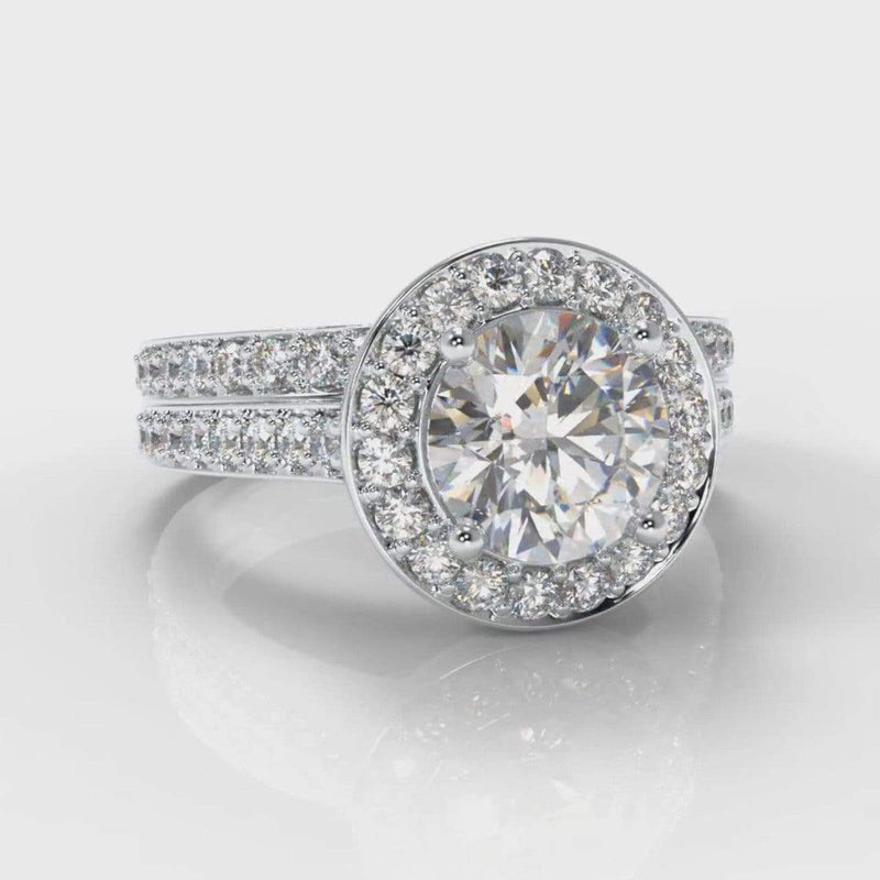Pavé Halo Round Brilliant Cut Lab Diamond Bridal Ring Set-Ring Setting-Pure Carats-Pure Carats